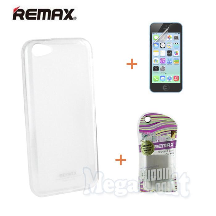 Remax Силиконовый чехол+пленка+пакет для Apple iPhone 5C