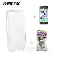 Remax Силиконовый чехол+пленка+пакет для Apple iPhone 5C, фото 1
