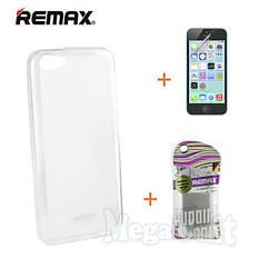 Remax Силіконовий чохол+плівка+пакет для Apple iPhone 5C