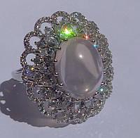 Кольцо с розовым кварцем в огранке кабошон Размер 18