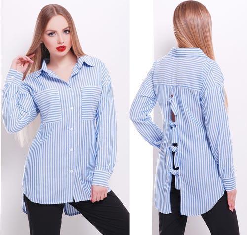0f6a9c829bb Голубая полосатая блузка с удлиненной спинкой - СТИЛЬНАЯ ДЕВУШКА интернет  магазин модной женской одежды в Киеве