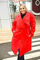 """Женское кашемировое пальто на запах """"Carrie"""" с поясом и карманами (большие размеры)"""