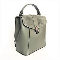 Деловая сумка-рюкзак, кожа, Италия, cерый, фото 1