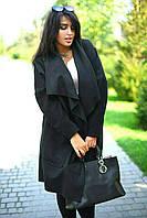 """Женское демисезонное пальто на запах """"Японка"""" с карманами (большие размеры)"""