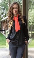 Рубашка черного цвета с бантом