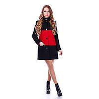 """Пальто женское демисезонное """"MJ-2"""" черный с красным, 42"""