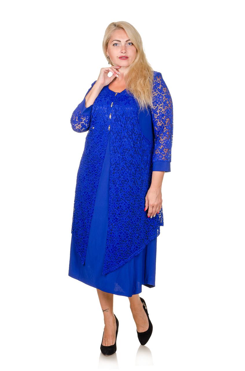 Красивое платье большой размер Нимфея электрик (60-66) - FaShop  Женская одежда от производителя в Харькове