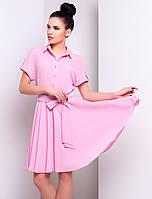 Летнее платье с коротким рукавом розового цвета. Модель 14828.