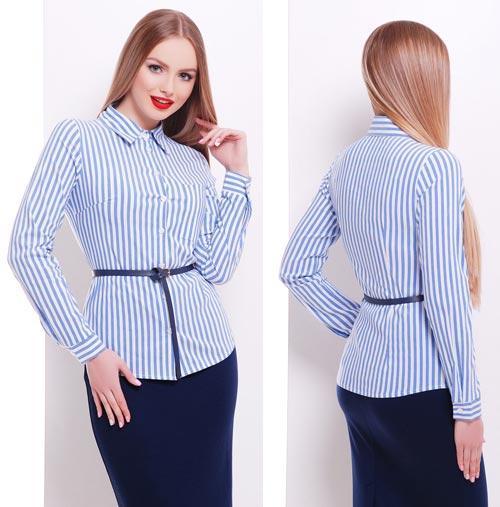 05e39c078a2 Полосатая приталенная блузка для офиса - СТИЛЬНАЯ ДЕВУШКА интернет магазин  модной женской одежды в Киеве