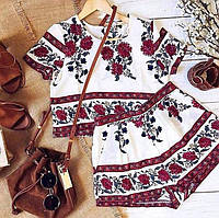 Летний костюм с этническим ярким принтом (топ+шорты),  Стрейчевый трикотаж