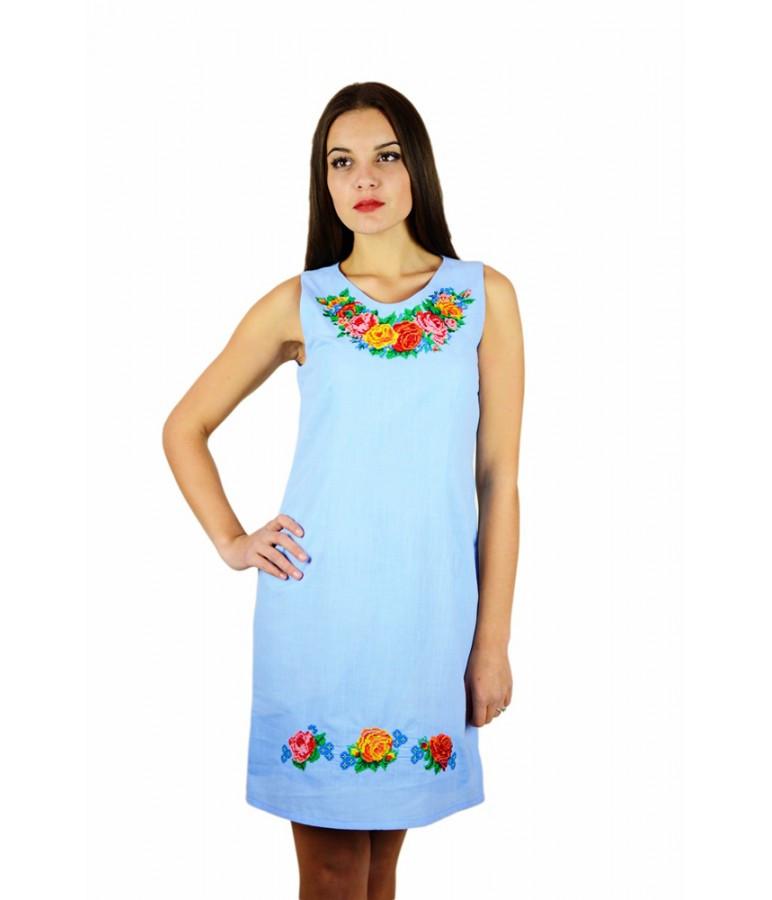 Блакитна сукня вишита хрестиком. Плаття вишите хрестиком. Вишита жіноча  сукня. Вишиванки жіночі. 9456da84d188a