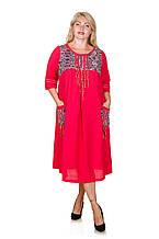 Платье в этническом стиле размер плюс Амулет красный (58-68)