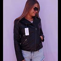 Куртка женская кожзам косуха шипы чёрная