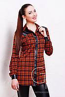 Рубашка 17683 (Черн.-оранж.м.кл.-кожа)