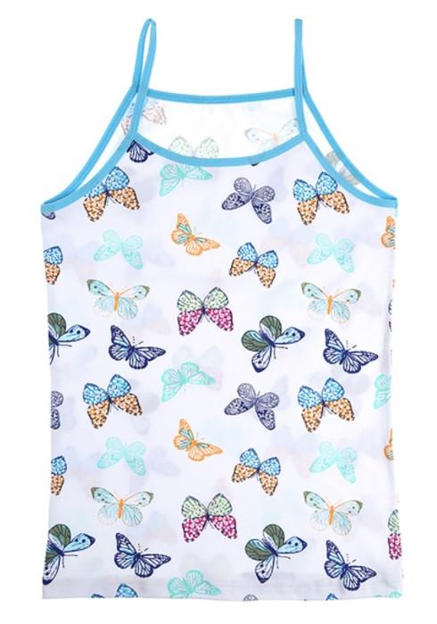 """Майка детская для девочки """"Цветные бабочки"""", 8-9 лет (рост 134-140)"""