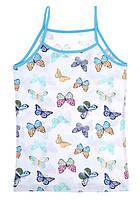 """Майка детская для девочки """"Цветные бабочки"""", 4-5 лет (рост 110-116), фото 1"""