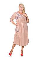 Платье из льна большого размера Амулет пудра (62-68)