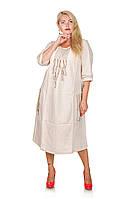 Платье в стиле этно большой размер Амулет молочный (62-68)