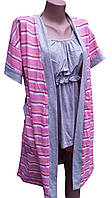 Комплект халат и пижама с шортами для беременных и кормящих мам в полоску