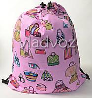 Рюкзак сумка для сменной обуви на шнурках розовый сумки