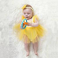 Боди-платье для новорожденных жёлтое