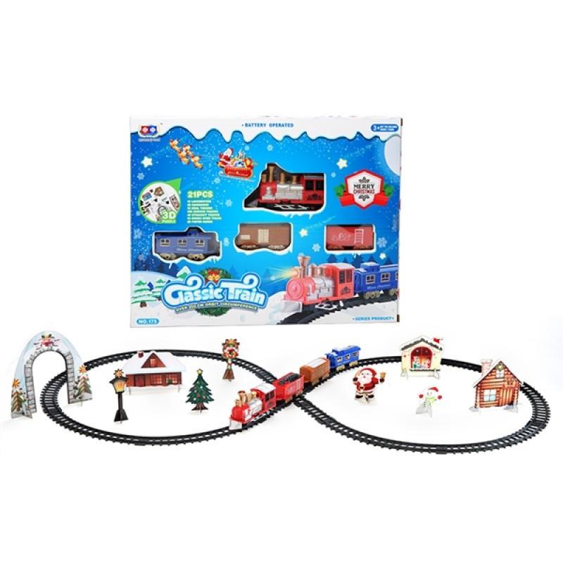 Железная дорога с поездами восьмерка Новогодняя