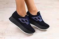Женские кроссовки синие из натуральной замши