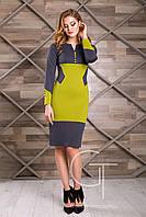 Платье 24956 (т.серый-салатовый)