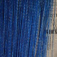 Нитяные шторы с люрексом синие