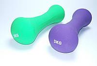 Гантели с неопреновым покрытием 3 кг Фиолетовый и Салатовый