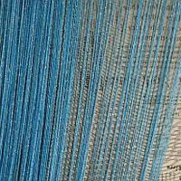 Нитяные шторы с люрексом голубые