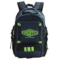 Школьный рюкзак для мальчика синий с салатовым