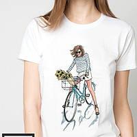 Футболки женские девушка на велосипеде