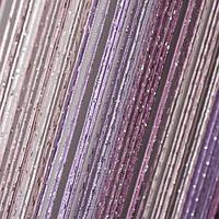 Нитяные шторы с люрексом сиренево-розово-белые