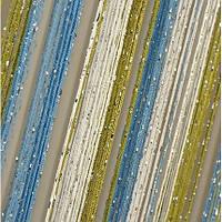 Нитяные шторы с люрексом бело-оливково-голубые
