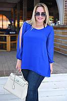 """Удлиненная шифоновая женская блуза """"Rона"""" с разрезами на рукавах (большие размеры)"""