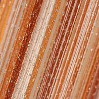 Нитяные шторы с люрексом оранжево-красно-белые