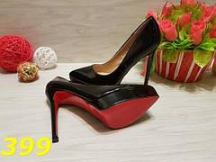 Женские туфли лодочки на платформе черные с красной подошвой, р.36-41*, фото 2