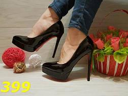 Женские туфли лодочки на платформе черные с красной подошвой, р.36-41*, фото 3