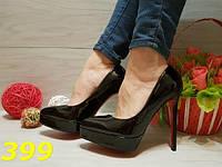 Женские туфли лодочки на платформе черные с красной подошвой, р.36-39
