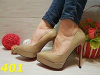 Женские туфли лодочки на платформе с красной подошвой, цвет кофе с молоком, р.36-41