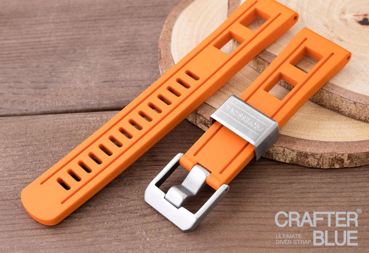 22 мм Crafter Blue оранжевый каучуковый ремешок.