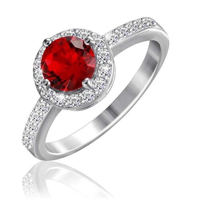 """Серебряное кольцо с имитацией рубина """"437"""""""