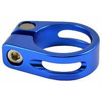Хомут подседельный KL68(с прорезью), болт, Ф30,2mm, синий