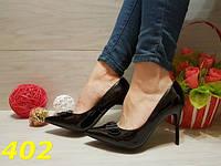 Женские классические туфли лодочки черные, с бантом, р.36-41