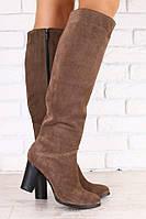 Высокие замшевые сапоги на каблуке, фото 1