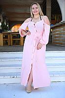 """Длинное шелковое платье на бретельках """"Миджина"""" с длинным рукавом и разрезами по бокам (большие разм"""