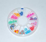 Фимо для декора ногтей YRE DF-C, Цветочки в каруселе 12 шт, маникюр с фимо, декор на ногтях, декор в палочке фимо