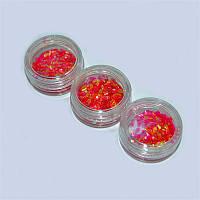 Чешуя цветная для дизайна ногтей YRE DCH-03, цена за 3 шт красная, песок для дизайна ногтей, декор ногтей, песочный маникюр, глитер - песок