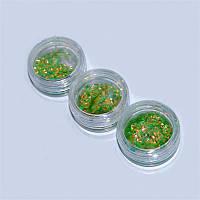 Чешуя цветная для дизайна ногтей YRE DCH-04, цена за  3 шт зеленая, песок для дизайна ногтей, декор ногтей, песочный маникюр,глитер-песок, глитер -